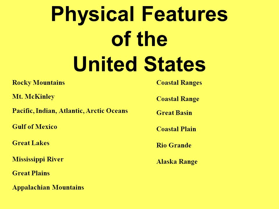 Physical Features Of The United States Rocky Mountains Mt