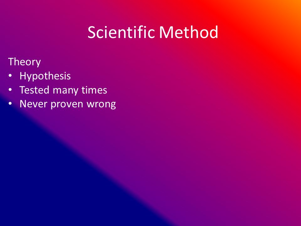 Scientific Method Theory Hypothesis Tested many times Never proven wrong