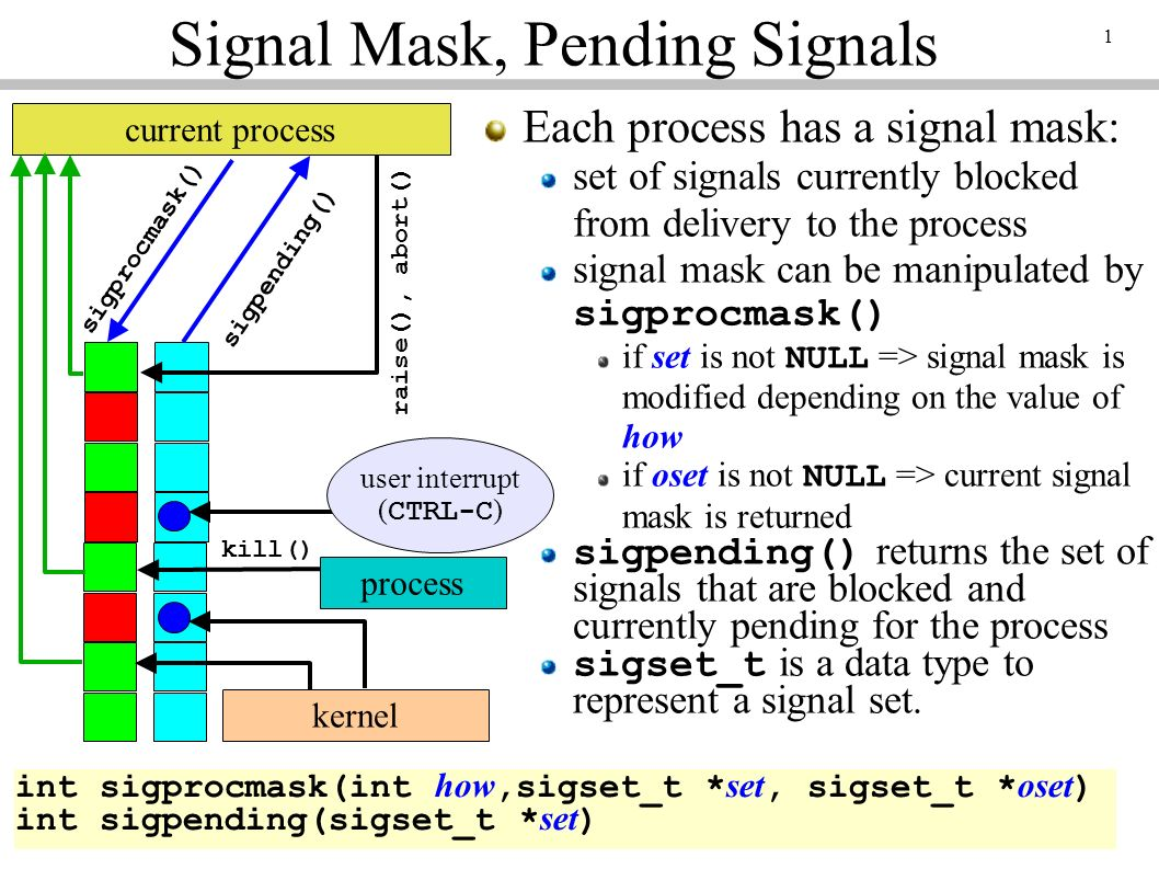1 current process sigprocmask() kernel user interrupt ( CTRL-C ) sigpending() kill() raise(), abort() process Signal Mask, Pending Signals Each process has a signal mask: set of signals currently blocked from delivery to the process signal mask can be manipulated by sigprocmask() if set is not NULL => signal mask is modified depending on the value of how if oset is not NULL => current signal mask is returned sigpending() returns the set of signals that are blocked and currently pending for the process sigset_t is a data type to represent a signal set.