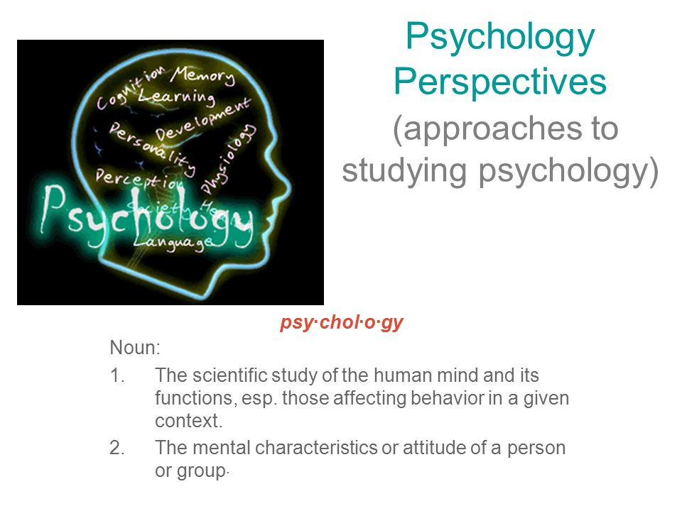 Psychology Perspectives (approaches to studying psychology) psy·chol·o·gy Noun: 1.The scientific study of the human mind and its functions, esp.