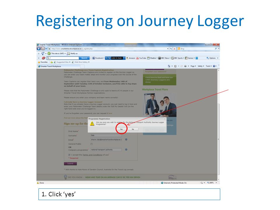 1. Click 'yes' Registering on Journey Logger