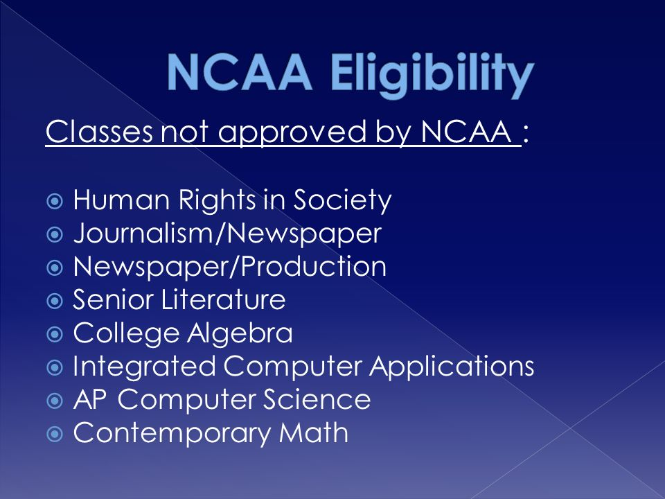Classes not approved by NCAA :  Human Rights in Society  Journalism/Newspaper  Newspaper/Production  Senior Literature  College Algebra  Integrated Computer Applications  AP Computer Science  Contemporary Math