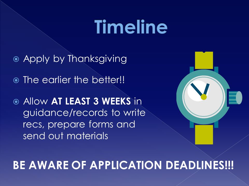 Apply by Thanksgiving  The earlier the better!.