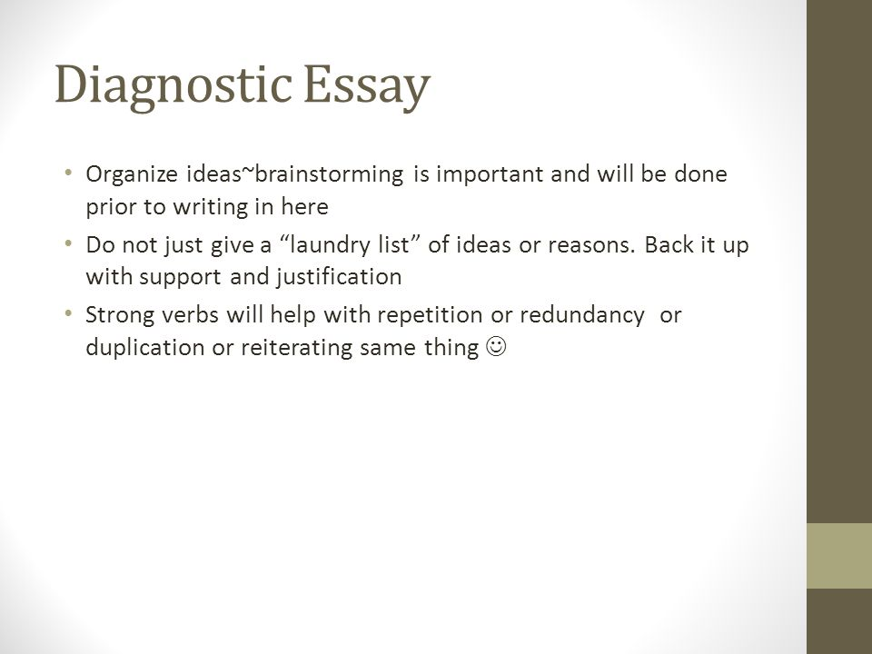 diagnostic freshmen essay Open document below is a free excerpt of diagnostic medical sonographer admissions essay from anti essays, your source for free research papers, essays, and term paper examples.