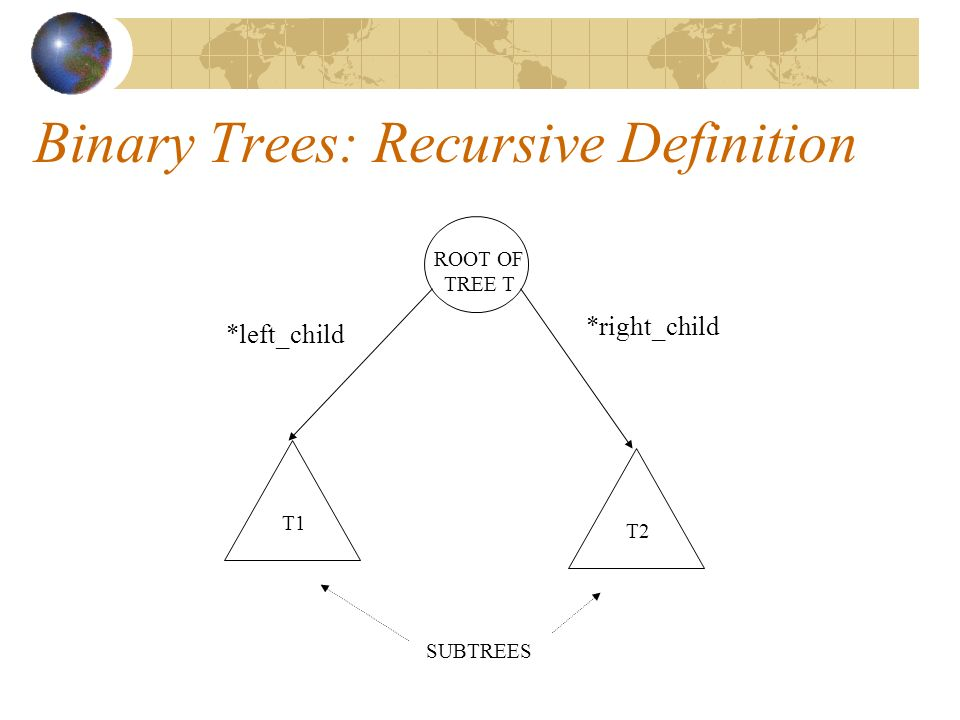 Binary Trees: Recursive Definition ROOT OF TREE T T1 T2 SUBTREES *left_child *right_child