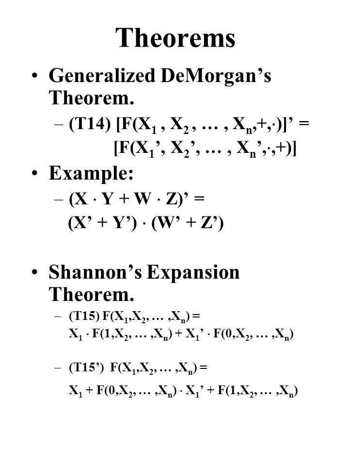 Theorems Generalized DeMorgan's Theorem.