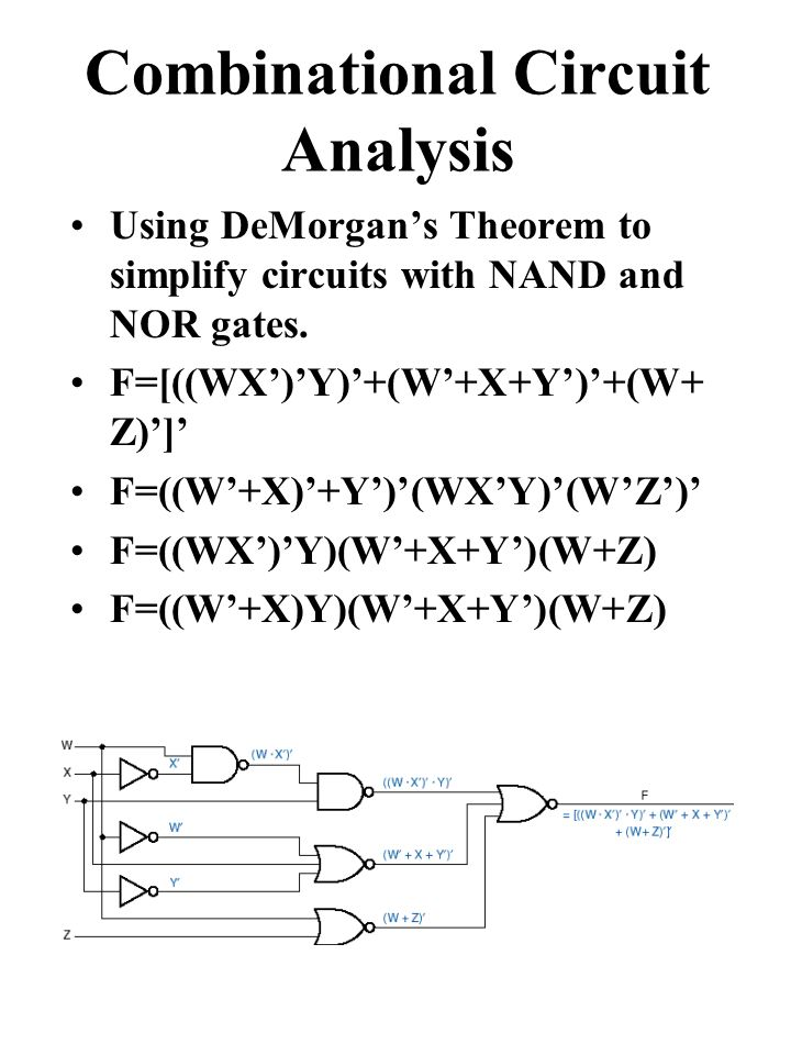 Combinational Circuit Analysis Using DeMorgan's Theorem to simplify circuits with NAND and NOR gates.