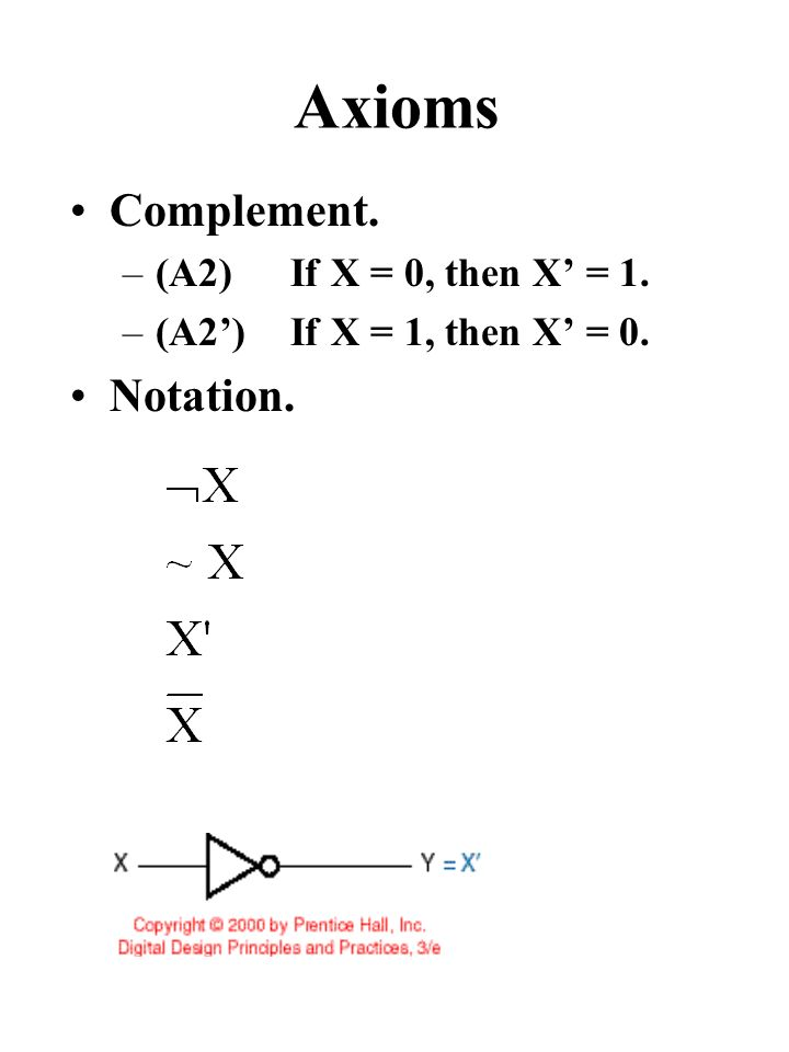 Axioms Complement. –(A2) If X = 0, then X' = 1. –(A2') If X = 1, then X' = 0. Notation.