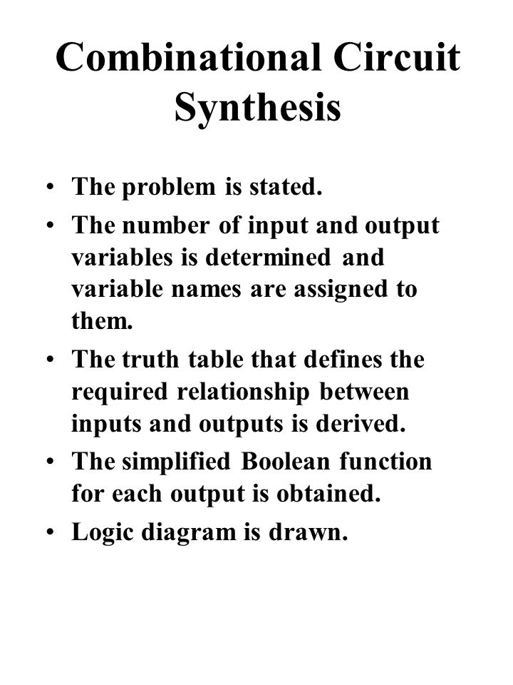 Combinational Circuit Synthesis The problem is stated.