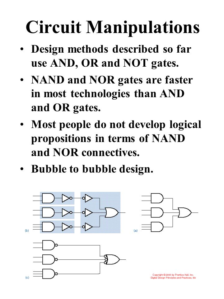 Circuit Manipulations Design methods described so far use AND, OR and NOT gates.