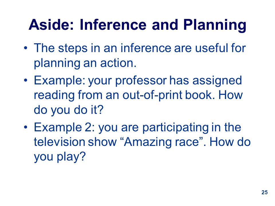 25 Aside: Inference and Planning The steps in an inference are useful for planning an action.