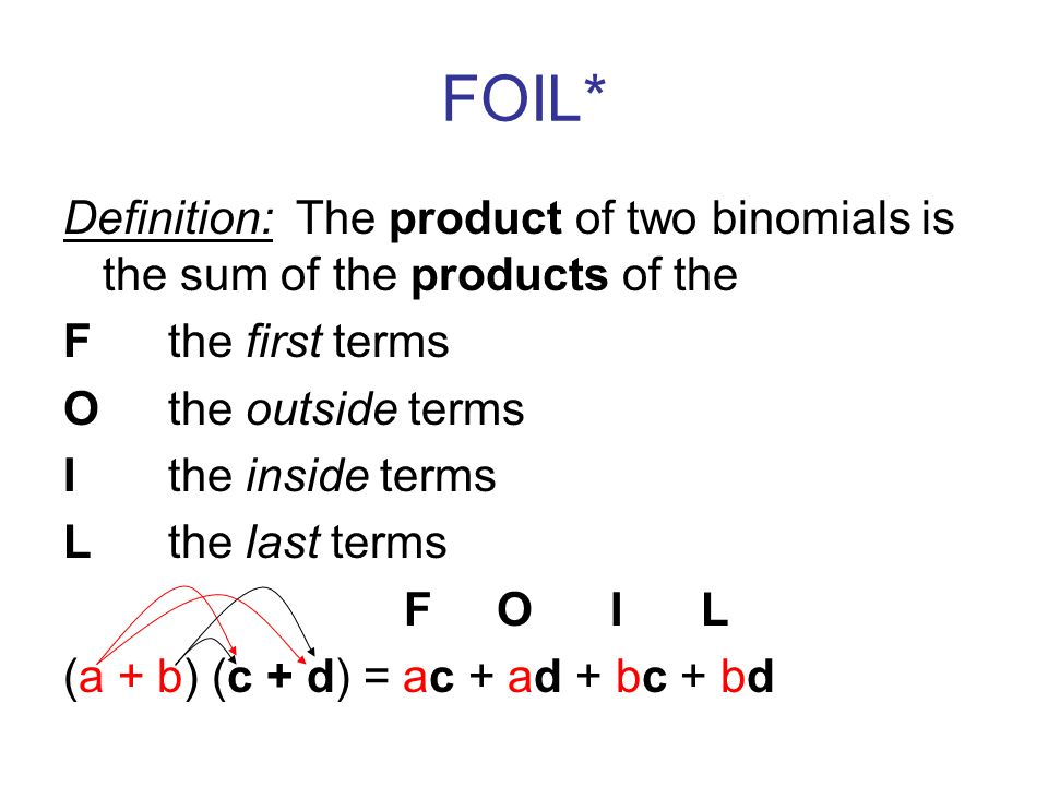 FOIL* Definition: The product of two binomials is the sum of the products of the F the first terms Othe outside terms Ithe inside terms Lthe last terms F O I L (a + b) (c + d) = ac + ad + bc + bd