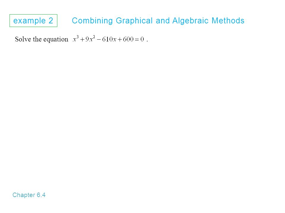 example 2 Combining Graphical and Algebraic Methods Chapter 6.4 Solve the equation.