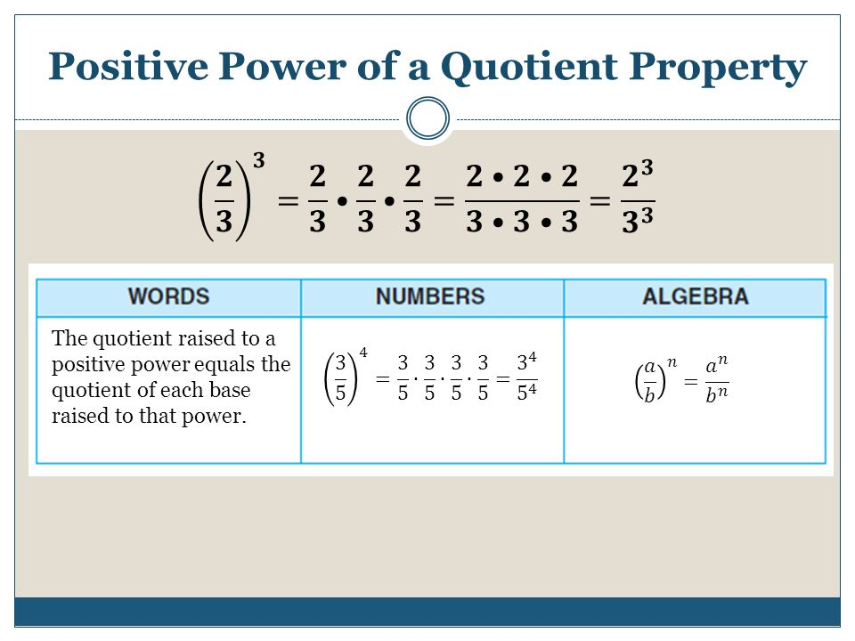 Positive Power of a Quotient Property The quotient raised to a positive power equals the quotient of each base raised to that power.