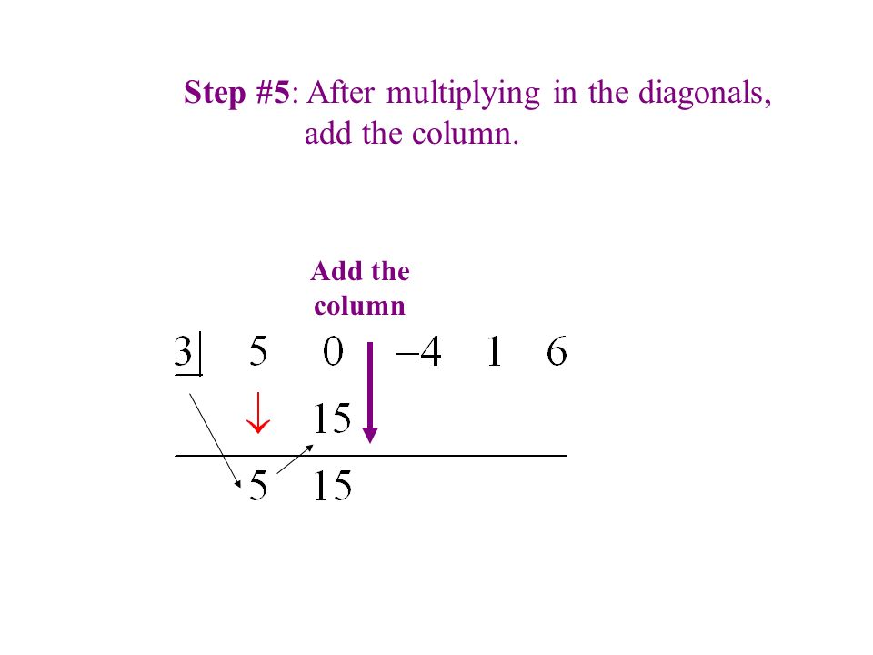 Step #5: After multiplying in the diagonals, add the column. Add the column