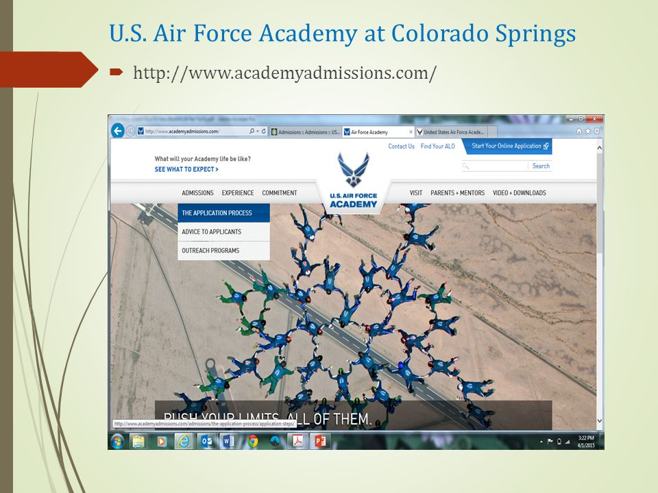 U.S. Air Force Academy at Colorado Springs  http://www.academyadmissions.com/