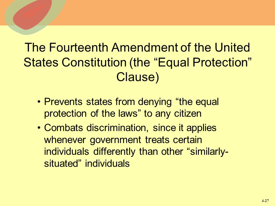 a look at the fourteenth amendment to the united states constitution The fourteenth amendment (amendment xiv) to the united states constitution was adopted on july 9, 1868, as one of the reconstruction amendmentsthe amendment addresses citizenship rights and equal protection of the laws and was proposed in response to issues related to former slaves following the american civil war.