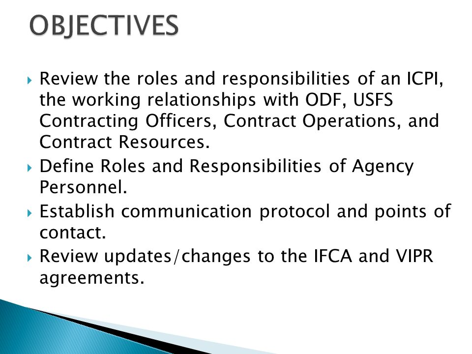 Marvelous Review The Roles And Responsibilities Of An ICPI, The Working  Relationships With ODF,