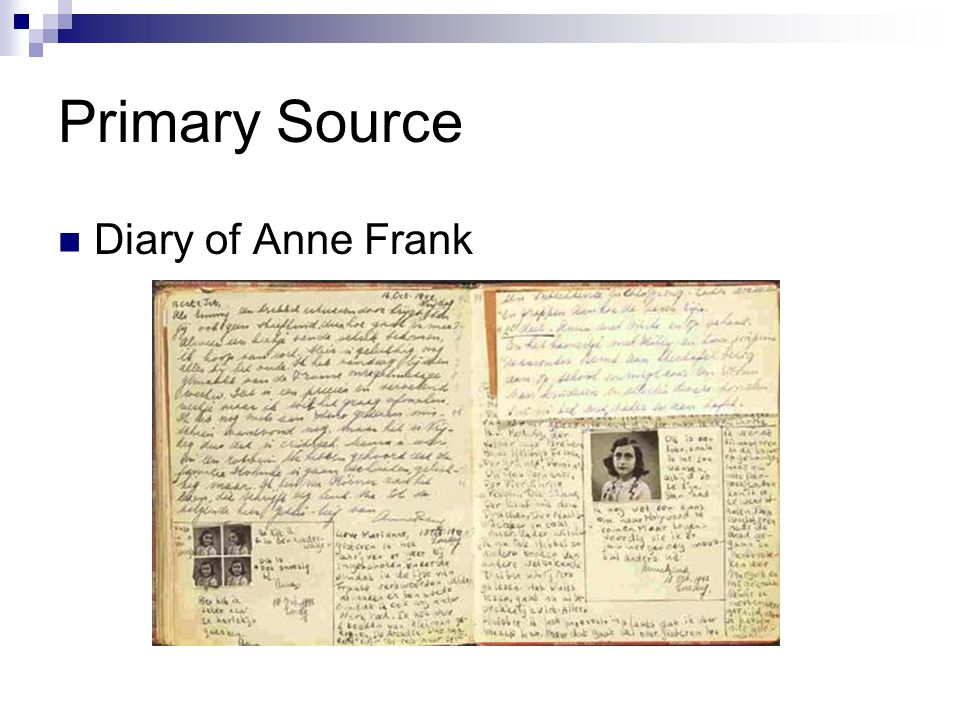 Primary Source Diary of Anne Frank