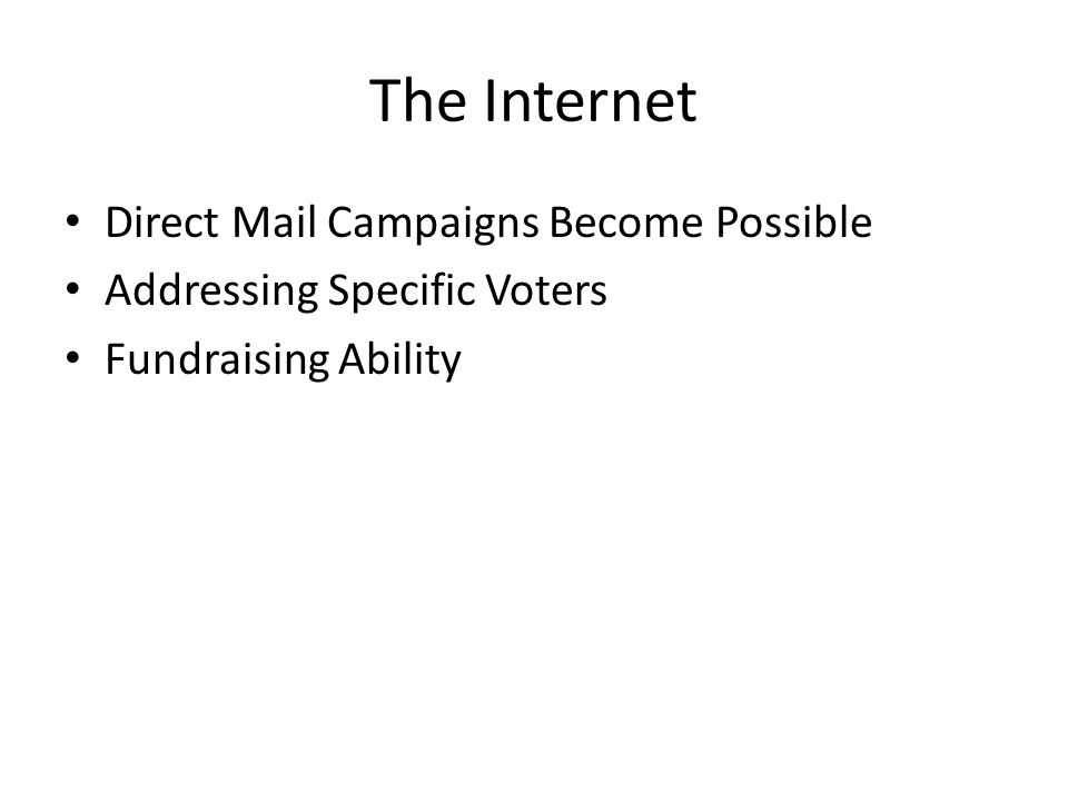 The Internet Direct Mail Campaigns Become Possible Addressing Specific Voters Fundraising Ability