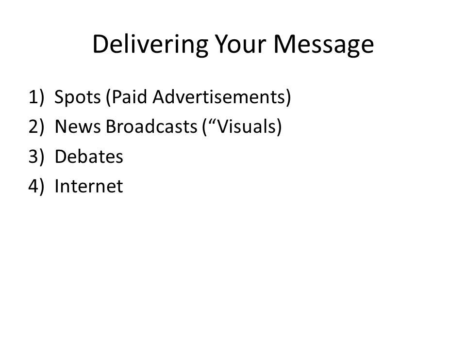 Delivering Your Message 1)Spots (Paid Advertisements) 2)News Broadcasts ( Visuals) 3)Debates 4)Internet