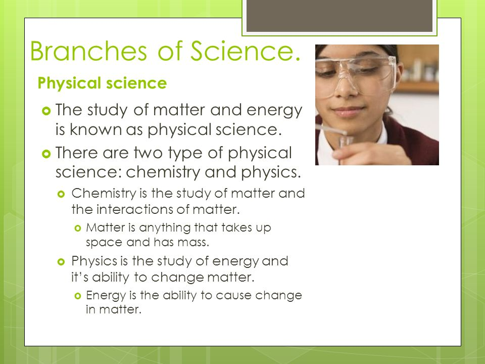 Branches of Science.