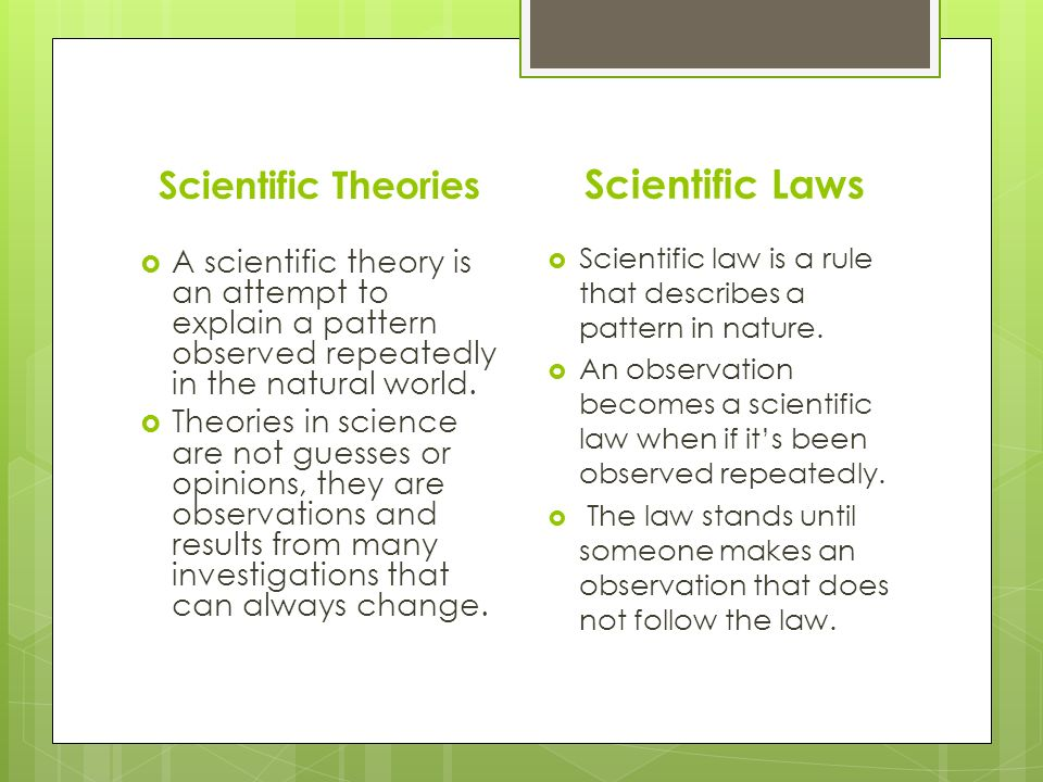 Scientific Theories  A scientific theory is an attempt to explain a pattern observed repeatedly in the natural world.
