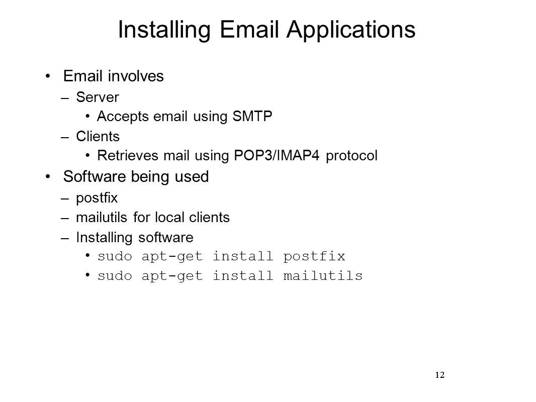 Hands on networking network applications ram p rustagi ise dept 12 12 installing email applications email involves server accepts email using smtp clients retrieves mail using pop3imap4 protocol software being used xflitez Image collections