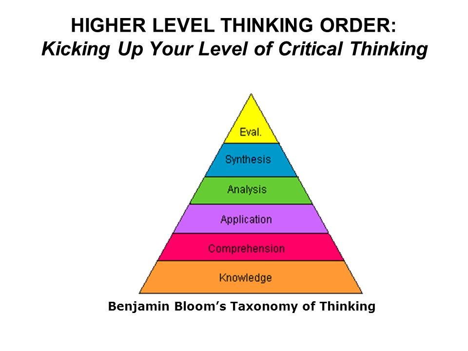 HIGHER LEVEL THINKING ORDER: Kicking Up Your Level of Critical Thinking Benjamin Bloom's Taxonomy of Thinking