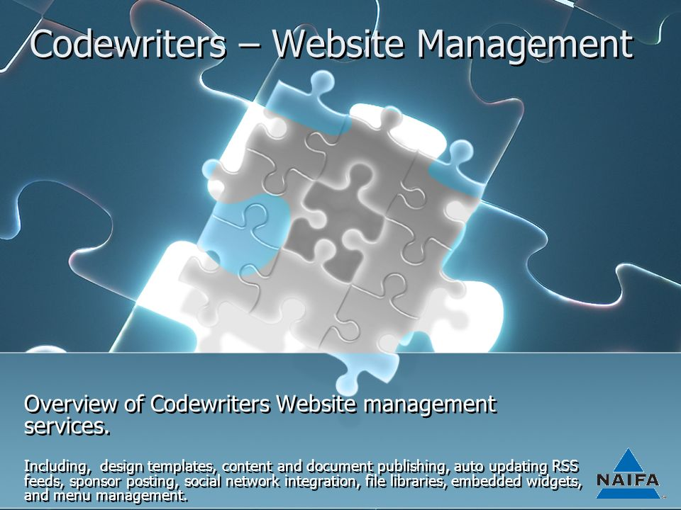 Codewriters – Website Management Overview of Codewriters Website management services.