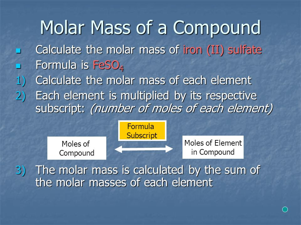Molar Mass of a Compound Calculate the molar mass of iron (II) sulfate Calculate the molar mass of iron (II) sulfate Formula is FeSO 4 Formula is FeSO 4 1) Calculate the molar mass of each element 2) Each element is multiplied by its respective subscript: (number of moles of each element) 3) The molar mass is calculated by the sum of the molar masses of each element Moles of Element in Compound Moles of Compound Formula Subscript