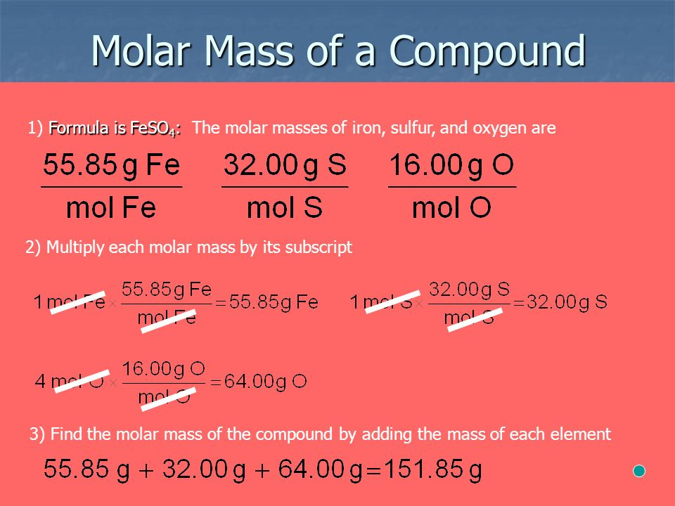 Molar Mass of a Compound Formula is FeSO 4 : 1) Formula is FeSO 4 : The molar masses of iron, sulfur, and oxygen are 2) Multiply each molar mass by its subscript 3) Find the molar mass of the compound by adding the mass of each element
