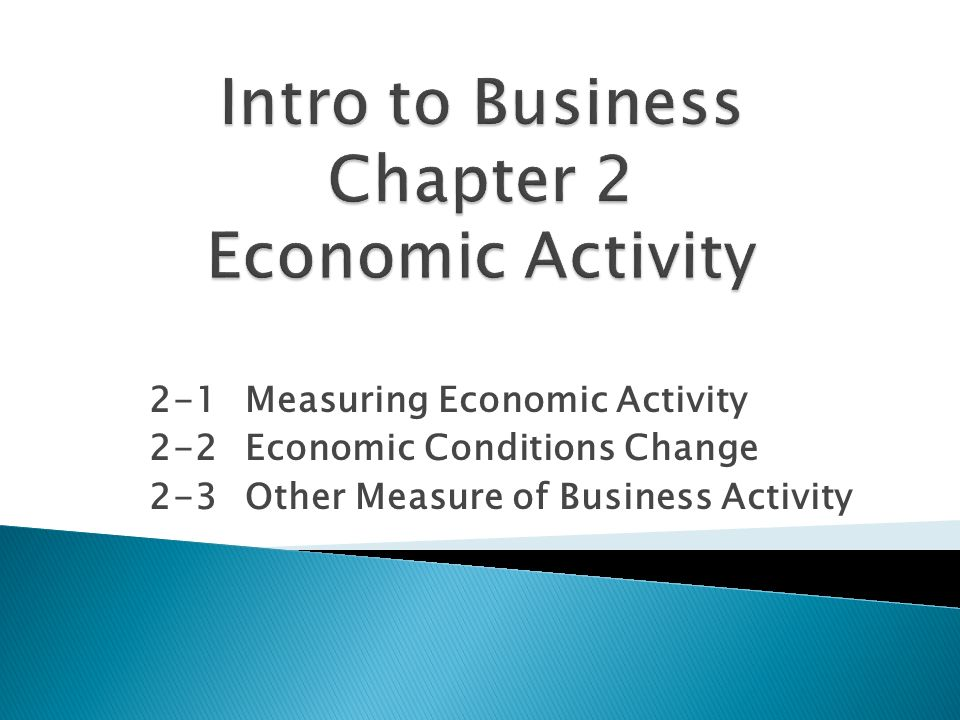 2-1Measuring Economic Activity 2-2Economic Conditions Change 2-3Other Measure of Business Activity