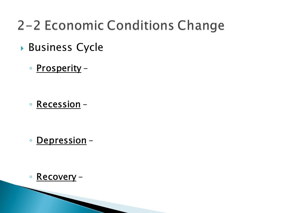  Business Cycle ◦ Prosperity – ◦ Recession – ◦ Depression – ◦ Recovery –