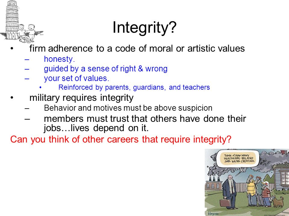 Integrity? firm adherence to a code of moral or artistic values –honesty. –guided by a sense of right & wrong –your set of values. Reinforced by paren