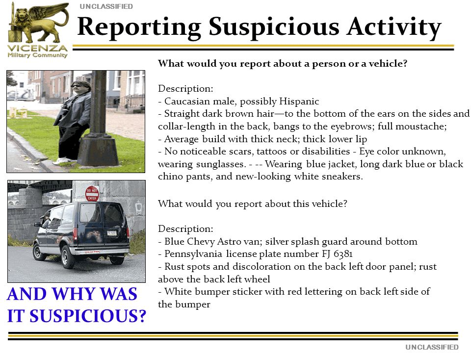 UNCLASSIFIED Reporting Suspicious Activity What would you report about a person or a vehicle.