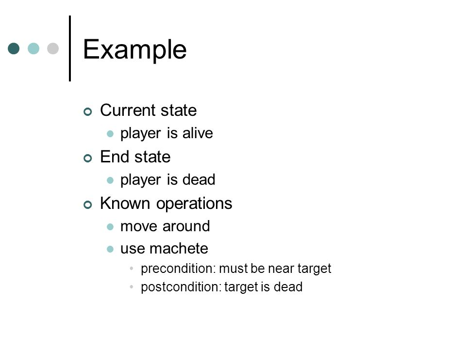 Example Current state player is alive End state player is dead Known operations move around use machete precondition: must be near target postcondition: target is dead