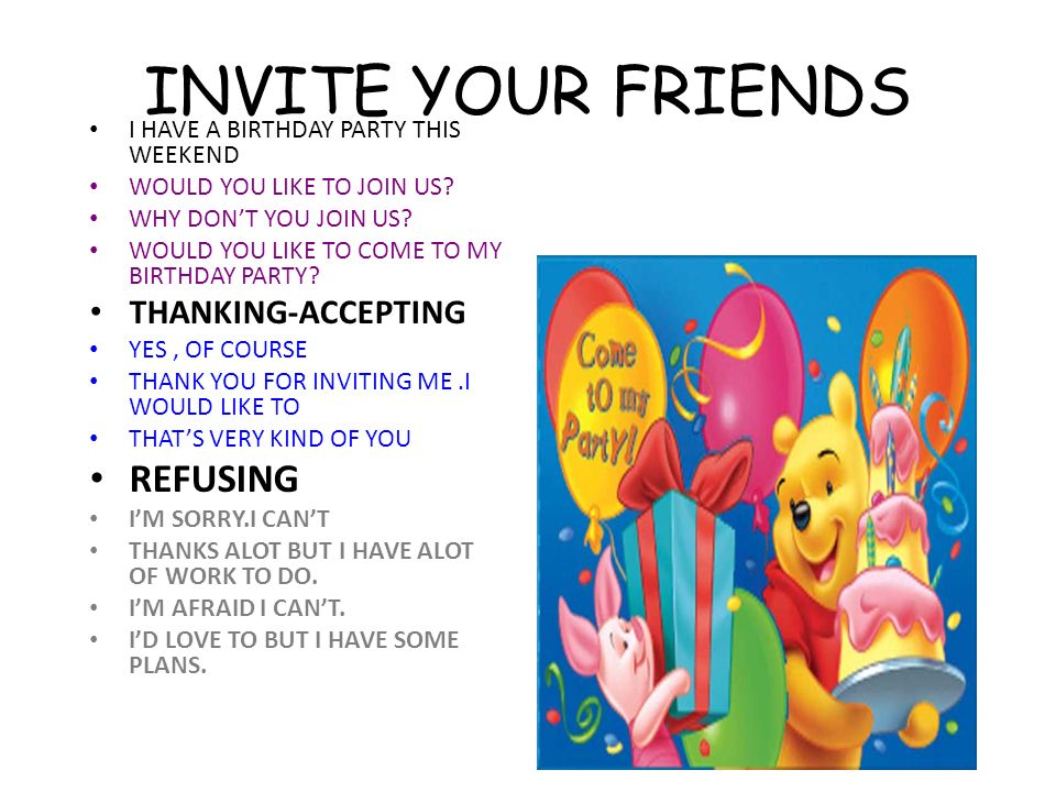 Unit 1 friendship to back up buddy cool to count on ppt download 21 invite your friends i have a birthday party filmwisefo Images