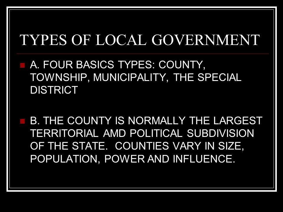 LOCAL GOVERNMENT All Politics is Local!. Local Government I ...