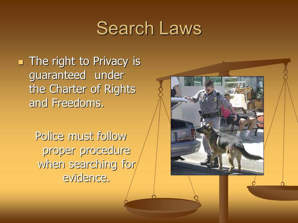 Search Laws The right to Privacy is guaranteed under the Charter of Rights and Freedoms.