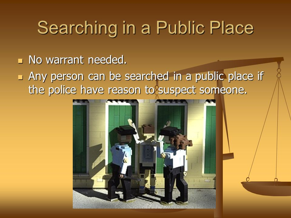 Searching in a Public Place No warrant needed. No warrant needed.