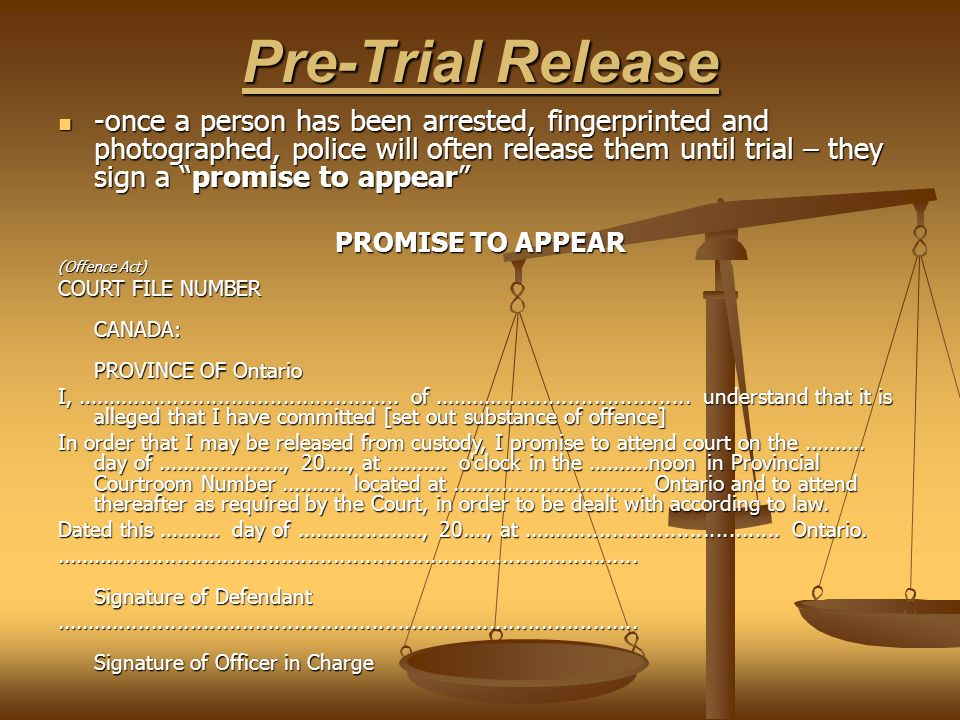Pre-Trial Release -once a person has been arrested, fingerprinted and photographed, police will often release them until trial – they sign a promise to appear -once a person has been arrested, fingerprinted and photographed, police will often release them until trial – they sign a promise to appear PROMISE TO APPEAR (Offence Act) COURT FILE NUMBER CANADA: PROVINCE OF Ontario I,