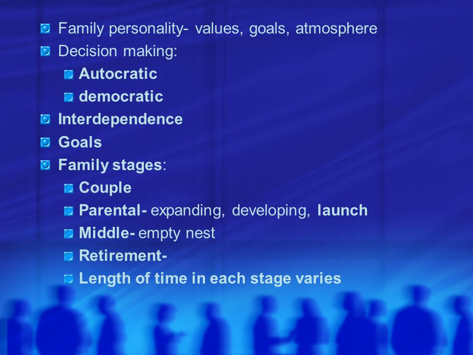 Family personality- values, goals, atmosphere Decision making: Autocratic democratic Interdependence Goals Family stages: Couple Parental- expanding,