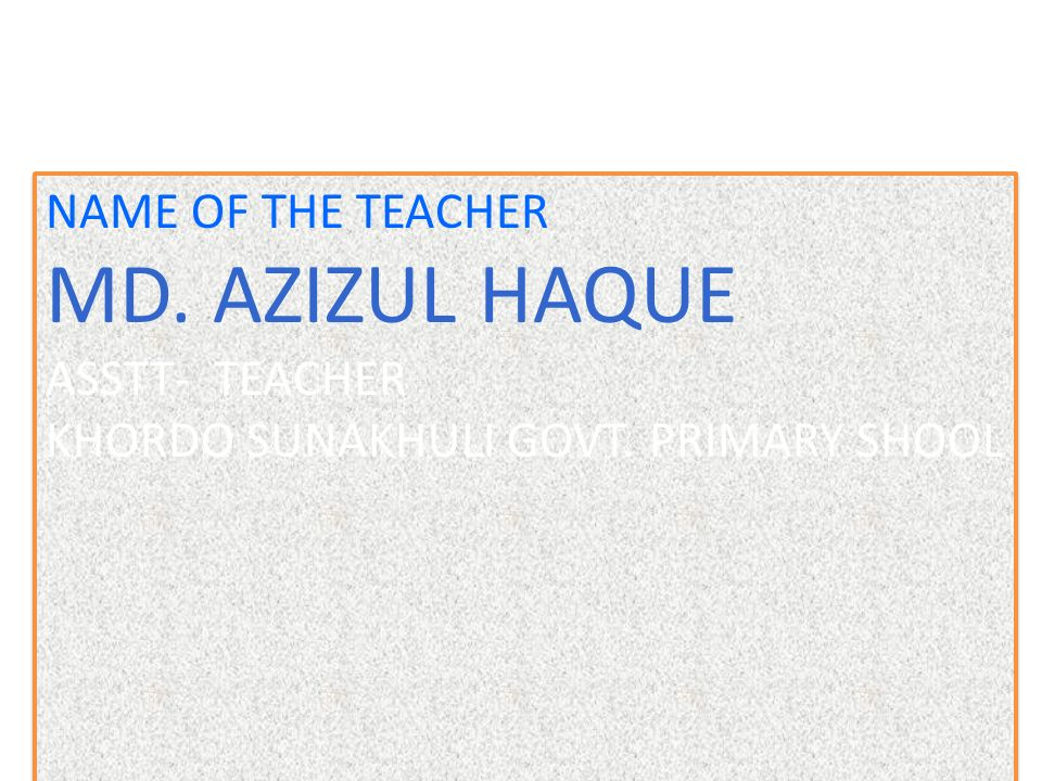 NAME OF THE TEACHER MD. AZIZUL HAQUE ASSTT- TEACHER KHORDO SUNAKHULI GOVT.