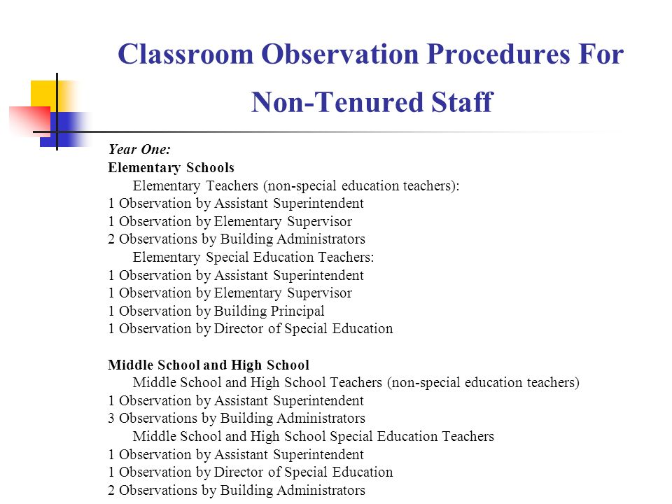 Classroom Observation Procedures For Non-Tenured Staff Year One: Elementary Schools Elementary Teachers (non-special education teachers): 1 Observation by Assistant Superintendent 1 Observation by Elementary Supervisor 2 Observations by Building Administrators Elementary Special Education Teachers: 1 Observation by Assistant Superintendent 1 Observation by Elementary Supervisor 1 Observation by Building Principal 1 Observation by Director of Special Education Middle School and High School Middle School and High School Teachers (non-special education teachers) 1 Observation by Assistant Superintendent 3 Observations by Building Administrators Middle School and High School Special Education Teachers 1 Observation by Assistant Superintendent 1 Observation by Director of Special Education 2 Observations by Building Administrators