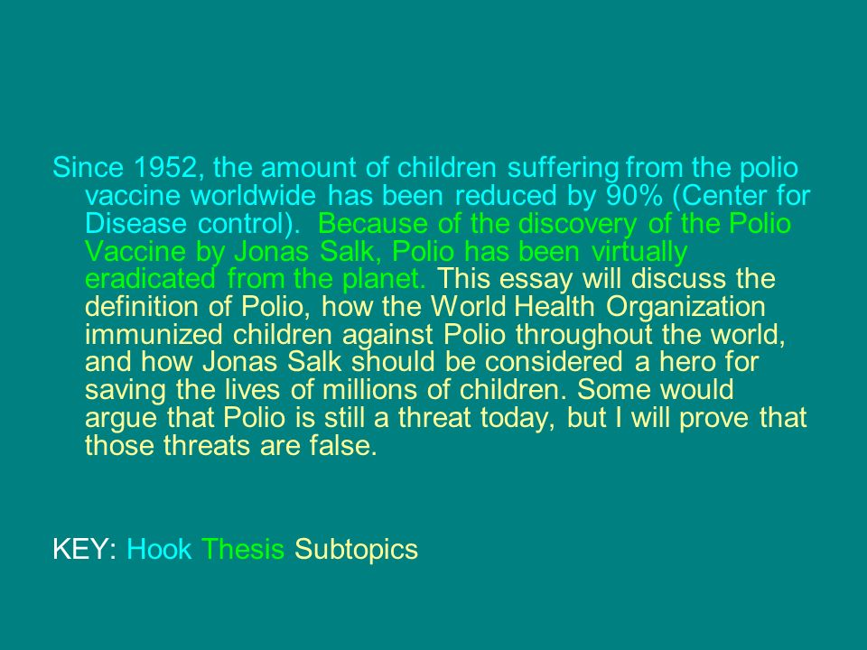 introductions in a persuasive research essay the hook as you  since 1952 the amount of children suffering from the polio vaccine worldwide has been reduced