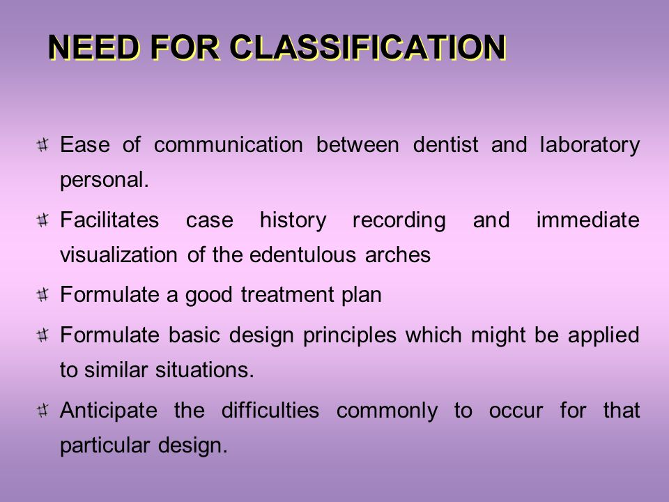 NEED FOR CLASSIFICATION Ease of communication between dentist and laboratory personal. Facilitates case history recording and immediate visualization