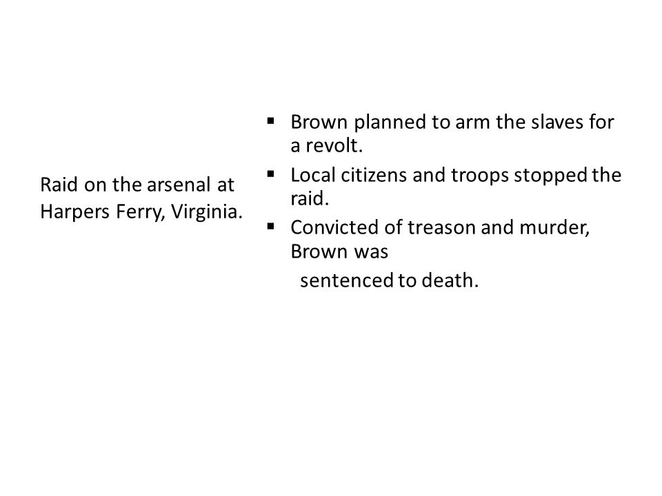  Brown planned to arm the slaves for a revolt.  Local citizens and troops stopped the raid.