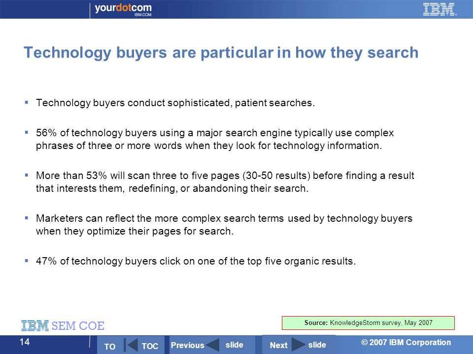 © 2007 IBM Corporation SEM COE 14 Technology buyers are particular in how they search  Technology buyers conduct sophisticated, patient searches.