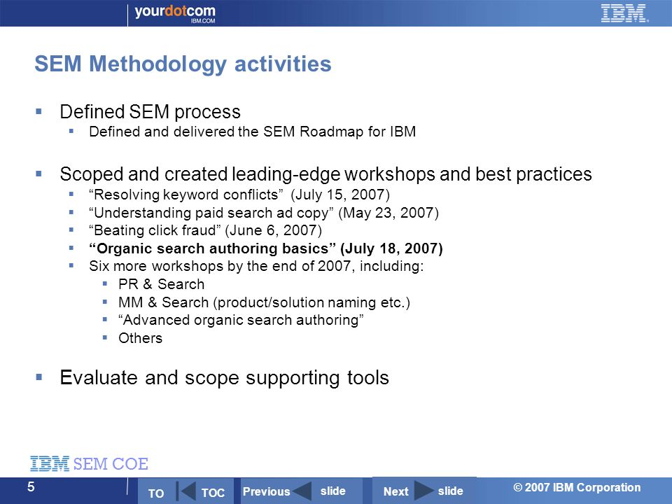 © 2007 IBM Corporation SEM COE 5 SEM Methodology activities  Defined SEM process  Defined and delivered the SEM Roadmap for IBM  Scoped and created leading-edge workshops and best practices  Resolving keyword conflicts (July 15, 2007)  Understanding paid search ad copy (May 23, 2007)  Beating click fraud (June 6, 2007)  Organic search authoring basics (July 18, 2007)  Six more workshops by the end of 2007, including:  PR & Search  MM & Search (product/solution naming etc.)  Advanced organic search authoring  Others  Evaluate and scope supporting tools TO TOC Previous slide Next slide